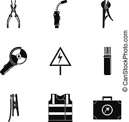 Workman icons set, simple style