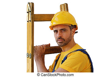 Workman in a hardhat carrying a ladder