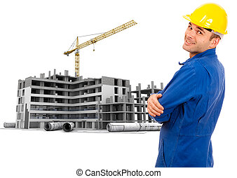Workman in construction site