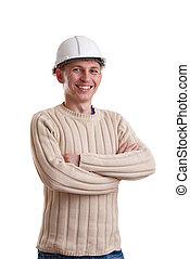 Workman in helmet on white background