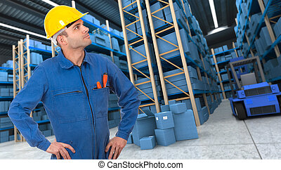 Workman on a warehouse