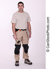 Workman standing on white background