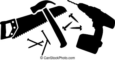 Workman tool with saw, hammer, nails and drill