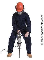 workman using pneumatic drill