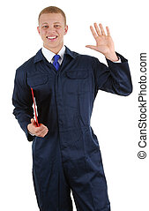 Workman waving with a clipboard