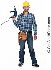 Workman with a drill