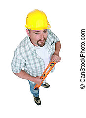 Workman with a spirit level