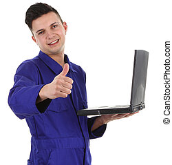 workman with laptop