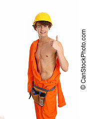 workman with thumbs up