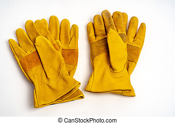 Workmans leather gloves for industrial ,fire protection type ,isolated on white background.