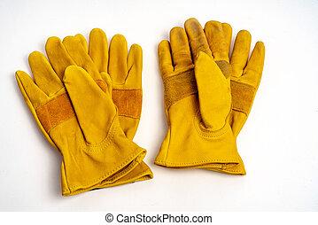 workmans, leder, handschoenen, voor, industriebedrijven, bescherming, type, op wit, achtergrond.