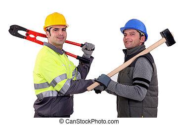Workmen shaking hands
