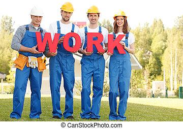 Workmen with word work