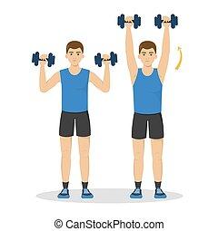 workout., ライフスタイル, 健康, 考え, 活動的, 腕, 人
