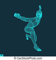 workout., 訓練, ヨガ, concept., モデル, 3d, man., 人
