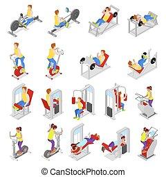 workout., 동일 크기다, 바람 빠진 타이어, 사람, 적당, equipment., 삽화, 운동회, gym., 스포츠맨, 벡터, exercises., 3차원