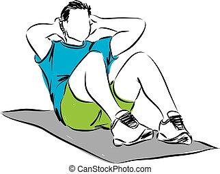 workout, abbildung, mann