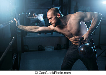 workout, atleet, gespierd, kettlebell, het tilen, man