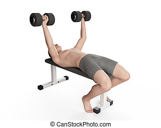 workout - bench press - exercise illustration - bench press