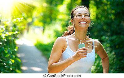 workout, buiten, park, rennende , woman.