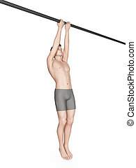 workout - close grip chin up - exercise illustration - close...