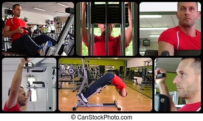 Workout edited sequence - Fit man doing workout at the gym,...