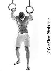 workout, efter, duelighed, ring, dyppe., slapp, mand