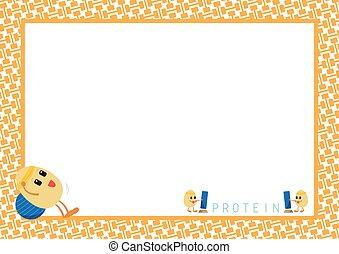 Workout Egg Cartoon in Orange Frame