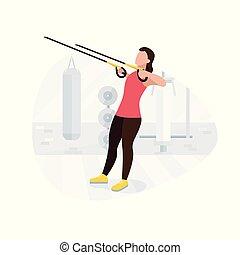 workout., entrenamiento, mujer, ataque, trabajando,...
