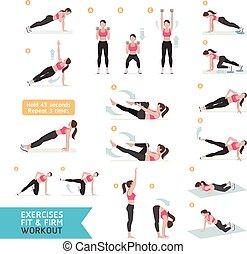workout, fitness, aerob, frau