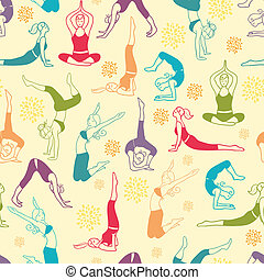 Vector workout fitness girls seamless pattern background with hand drawn elements