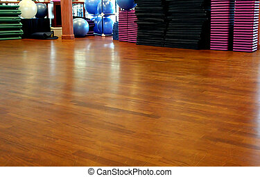 Workout Floor - A Wooden workoiut floor in a gym