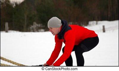 workout., formation, lent, hiver, hommes, fonctionnel, corde, fitness, mouvement, crossfit