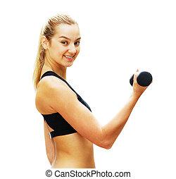 workout, frau, gegen, weißes