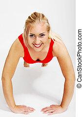 workout, frau, junger