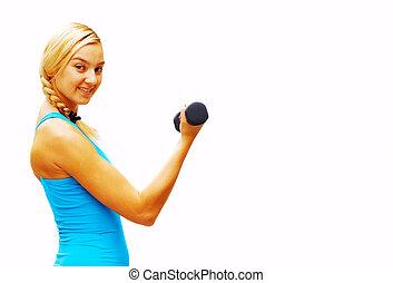 workout, frau, weiß