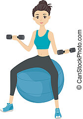 Illustration of a Girl Lifting Dumbbells While Sitting on an Exercise Ball