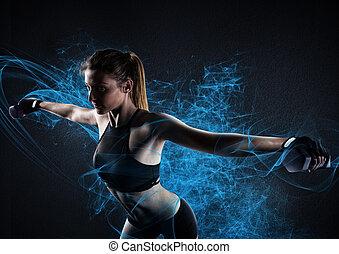 workout, glänzend, macht