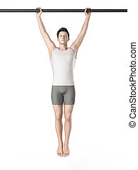 workout - hanging leg raises - exercise illustration -...