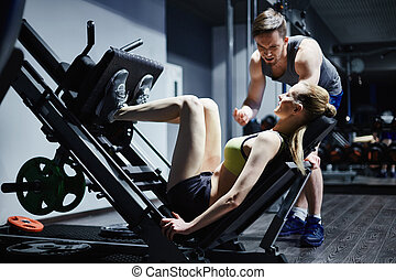 workout, in, turnhalle