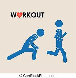 workout, konstruktion, duelighed