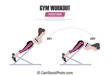 workout., levensstijl, gym, illustratie, hyperextension, romein, vector, chair., exercises., actief, sportende