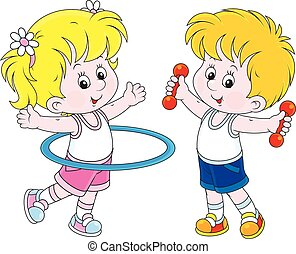 Workout - Little girl and boy doing gymnastic exercises