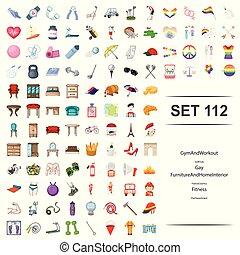 workout, möbel, gay, feuer, golfen, set., klub, abbildung, frankreich, turnhalle, inneneinrichtung, vektor, fitness, abteilung, land haupt, ikone