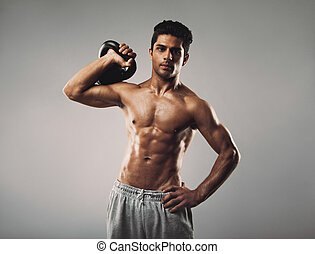 workout, man, crossfit, gespierd, jonge