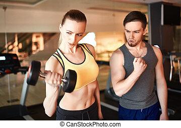 workout, mit, hantel