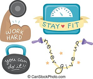 Workout Motivational Elements Illustration