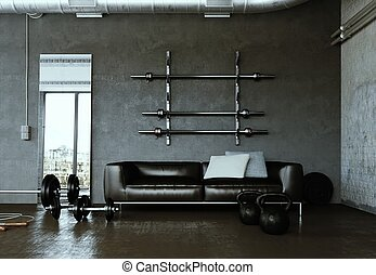 Workout Room with different Weight Lifting Equipment dumbbell, barbell, kettlebell