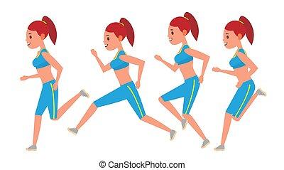 workout., runner., character., hembra, marcos, sportswear., vista., deporte, maratón, set., aislado, animación, vector., jogging, plano, mujer, ilustración, corriente, atleta, carrera, condición física, lado, camino