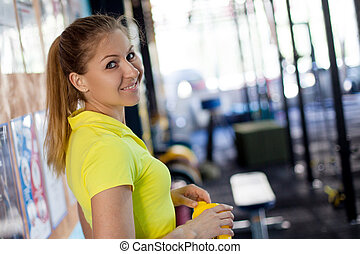 workout., shaker, ernährung, athlet, sport, hände, bereit, m�dchen